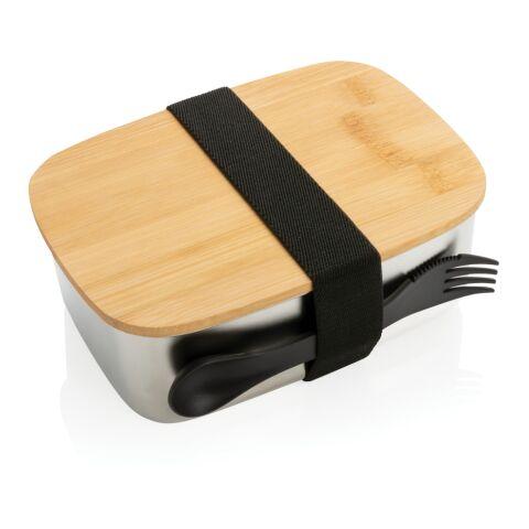 Stainless steel lunchlåda med bambulock och spork