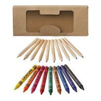 19-delars set med färgpennor och kritor